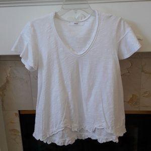 Wilt White Ruffled Short Sleeve Slub Jersey Top